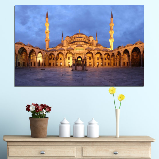 Canvas prints & wall decorative panels - 1 piece №0394 » Turquoise, Orange, Brown, Gray, Dark grey » Sultan ahmed, Turkey, Blue mosque, Mosque, Religion Form #1