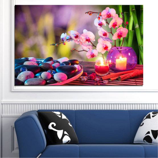 Canvas prints & wall decorative panels - 1 piece №0397 » Brown, Black, Gray, Milky pink, Dark grey » Feng shui, Orchid, Stones, Zen, Spa, Candle Form #1