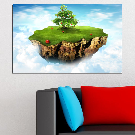 Canvas prints & wall decorative panels - 1 piece №0399 » Blue, Turquoise, Gray, White » Collage, Sky, Island Form #1