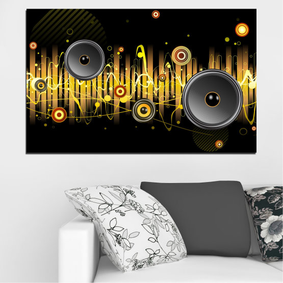 Canvas prints & wall decorative panels - 1 piece №0401 » Green, Brown, Black, Dark grey » Abstraction, Collage, Music Form #1