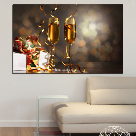 Canvas prints & wall decorative panels - 1 piece №0404 » Brown, Black, Gray, Dark grey » Shine, Christmas, Holiday Form #1