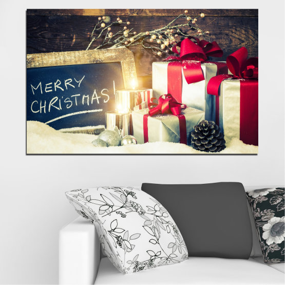 Декоративни панели и картини от канава - от 1 част №0405 » Черен, Сив, Бял, Бежов, Тъмно сив » Подарък, Коледа, Празник Form #1