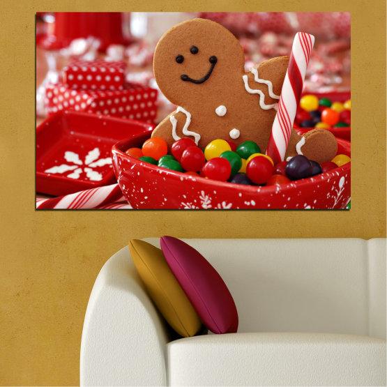Декоративни панели и картини от канава - от 1 част №0407 » Червен, Оранжев, Кафяв » Бисквита, Коледа, Празник Form #1