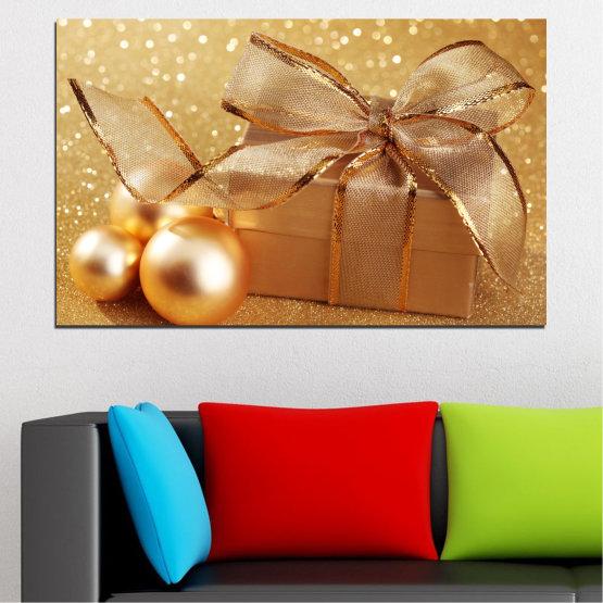 Декоративни панели и картини от канава - от 1 част №0408 » Зелен, Оранжев, Кафяв, Бежов » Подарък, Коледа, Празник Form #1