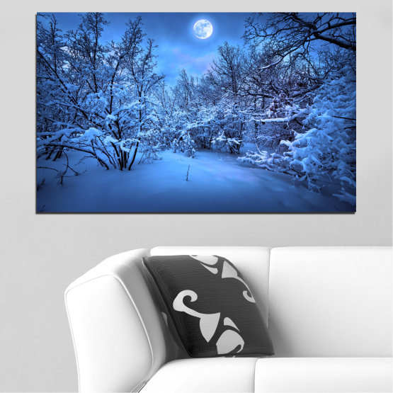 Canvas prints & wall decorative panels - 1 piece №0409 » Blue, Turquoise, Black, Dark grey » Landscape, Moon, Night, Snow, Winter Form #1