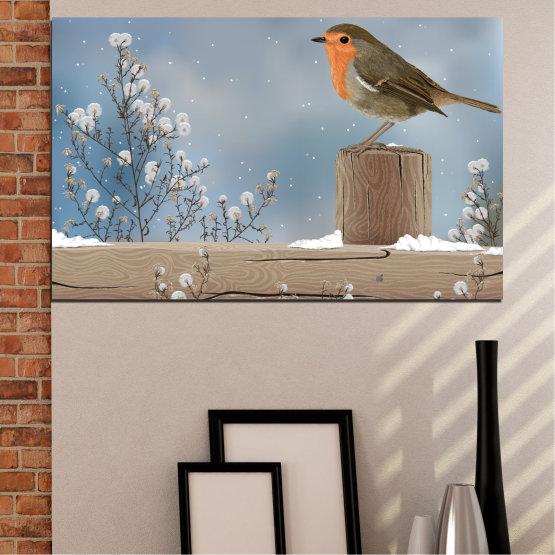 Декоративни панели и картини от канава - от 1 част №0410 » Кафяв, Сив, Тъмно сив » Птици, Сняг, Зима Form #1