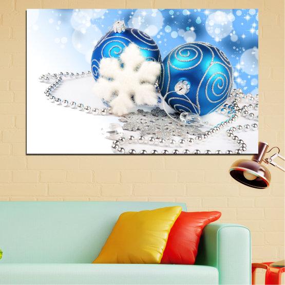 Декоративни панели и картини от канава - от 1 част №0411 » Тюркоаз, Сив, Бял » Украса, Коледа, Празник Form #1