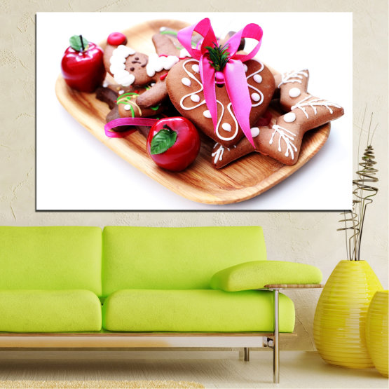 Canvas prints & wall decorative panels - 1 piece №0412 » Red, Pink, Orange, White, Beige » Christmas, Coockie, Pastry, Holiday Form #1