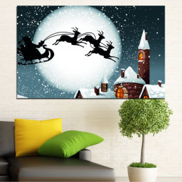 Night, Snow, House, Winter, Santa claus, Christmas, Holiday, Sled » Purple, Black, Gray, White, Dark grey