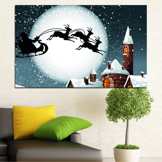 Canvas prints & wall decorative panels - 1 piece №0413 » Purple, Black, Gray, White, Dark grey » Night, Snow, House, Winter, Santa claus, Christmas, Holiday, Sled Form #1
