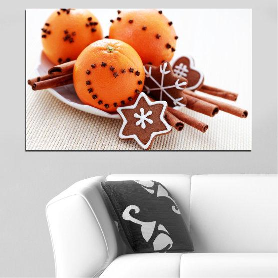 Декоративни панели и картини от канава - от 1 част №0415 » Оранжев, Кафяв, Сив, Бял, Бежов » Сладки, Коледа, Празник Form #1
