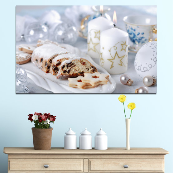 Canvas prints & wall decorative panels - 1 piece №0418 » Brown, Gray, White » Decoration, Candle, Pastry, Christmas, Holiday Form #1