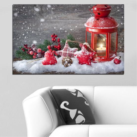 Декоративни панели и картини от канава - от 1 част №0419 » Червен, Кафяв, Сив, Тъмно сив » Украса, Коледа, Празник Form #1