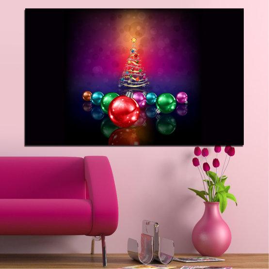 Декоративни панели и картини от канава - от 1 част №0420 » Червен, Лилав, Черен, Тъмно сив » Украса, Коледа, Празник Form #1