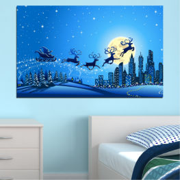 City, Night, Snow, Winter, Santa claus, Christmas, Holiday, Sled » Blue, Turquoise, Dark grey