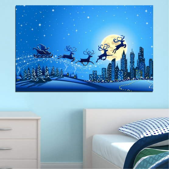 Canvas prints & wall decorative panels - 1 piece №0421 » Blue, Turquoise, Dark grey » City, Night, Snow, Winter, Santa claus, Christmas, Holiday, Sled Form #1