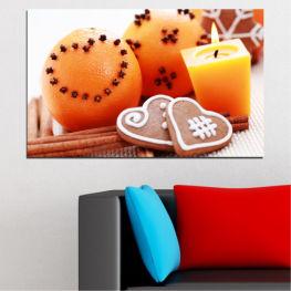 Свещ, Сладки, Коледа, Празник » Жълт, Оранжев, Сив, Бял, Бежов