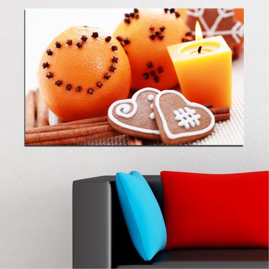Canvas prints & wall decorative panels - 1 piece №0423 » Yellow, Orange, Gray, White, Beige » Candle, Pastry, Christmas, Holiday Form #1