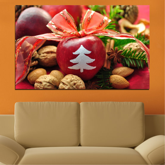 Canvas prints & wall decorative panels - 1 piece №0427 » Red, Orange, Brown, Black » Decoration, Christmas, Holiday Form #1