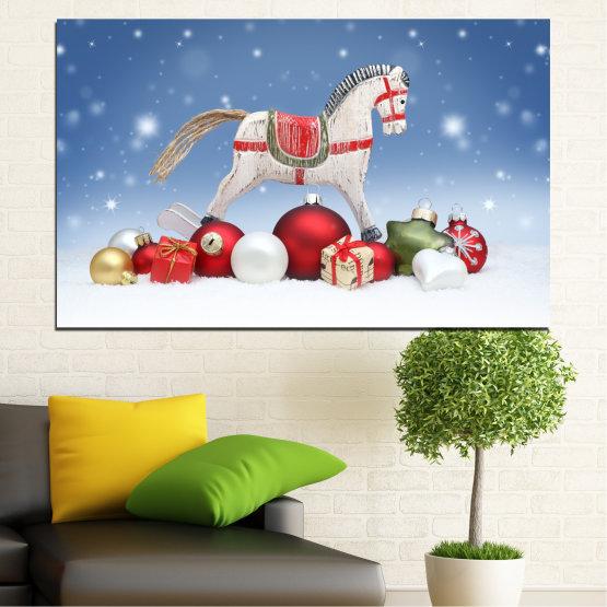 Декоративни панели и картини от канава - от 1 част №0428 » Син, Сив, Бял » Украса, Коледа, Празник Form #1