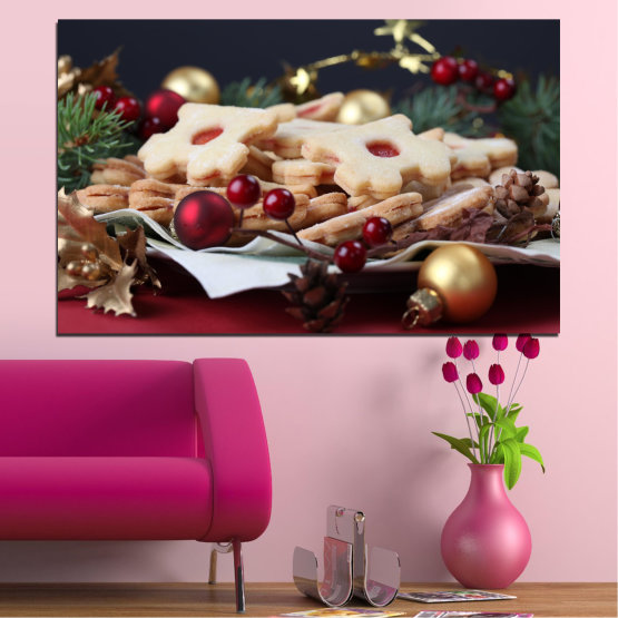 Canvas prints & wall decorative panels - 1 piece №0429 » Brown, Black, Beige, Dark grey » Decoration, Christmas, Pastry, Holiday Form #1