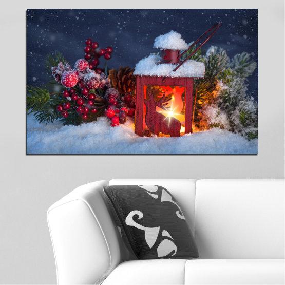 Декоративни панели и картини от канава - от 1 част №0430 » Кафяв, Черен, Сив, Тъмно сив » Украса, Коледа, Празник Form #1