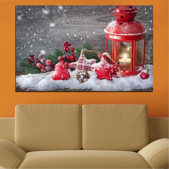 Εκτύπωση σε καμβά και διακοσμητικά πάνελ τοίχου - 1 τεμάχιο №0432 » Κόκκινος, Καστανός, Γκρί, Σκούρο γκρι » Διακόσμηση, Χριστούγεννα, Αργία Form #1