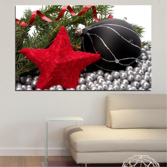 Декоративни панели и картини от канава - от 1 част №0434 » Червен, Черен, Сив, Бял, Тъмно сив » Украса, Коледа, Празник Form #1