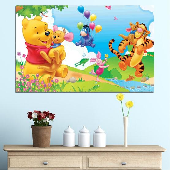 Декоративни панели и картини от канава - от 1 част №0435 » Зелен, Жълт, Сив, Бял » Детски, Анимационен, Мечо пух Form #1