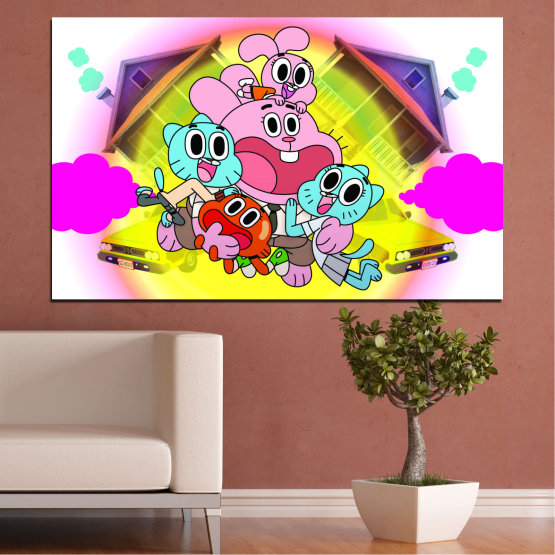 Canvas prints & wall decorative panels - 1 piece №0438 » Pink, Green, Yellow, White, Milky pink » Animated, Children, Gumball Form #1