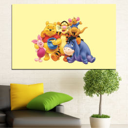 Children, Animated, Pooh bear » Red, Yellow, Orange, Gray, Beige