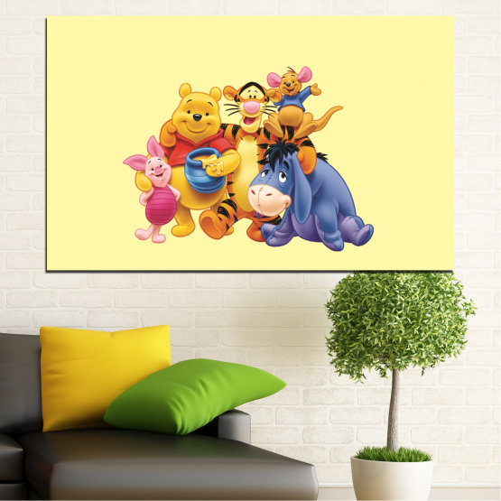 Canvas prints & wall decorative panels - 1 piece №0439 » Red, Yellow, Orange, Gray, Beige » Children, Animated, Pooh bear Form #1