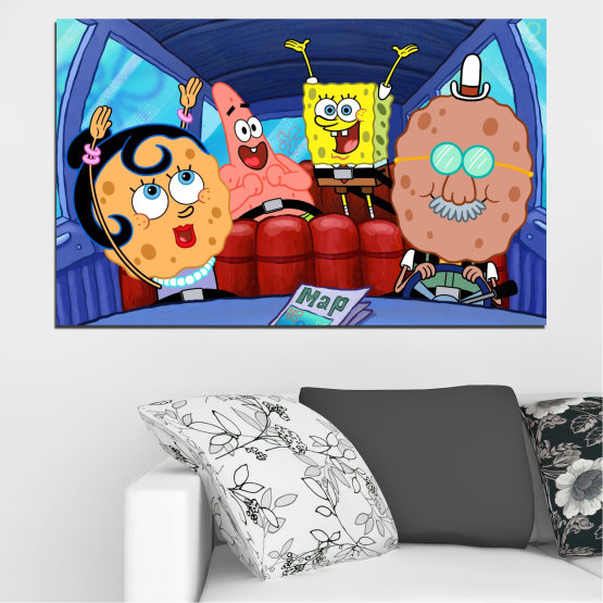 Canvas prints & wall decorative panels - 1 piece №0442 » Blue, Turquoise, Black, Gray, Dark grey » Children, Animated, Sponge bob Form #1