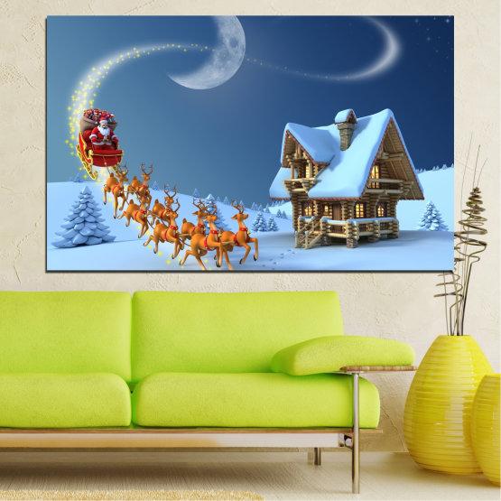 Декоративни панели и картини от канава - от 1 част №0443 » Лилав, Син, Сив, Тъмно сив » Нощ, Сняг, Къща, Зима, Дядо коледа, Коледа, Празник, Шейна Form #1