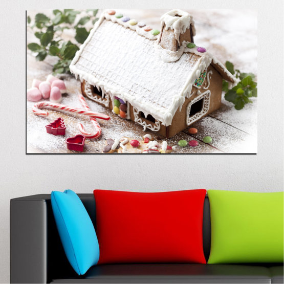 Canvas prints & wall decorative panels - 1 piece №0444 » Brown, Gray, White, Dark grey » House, Christmas, Pastry, Holiday Form #1