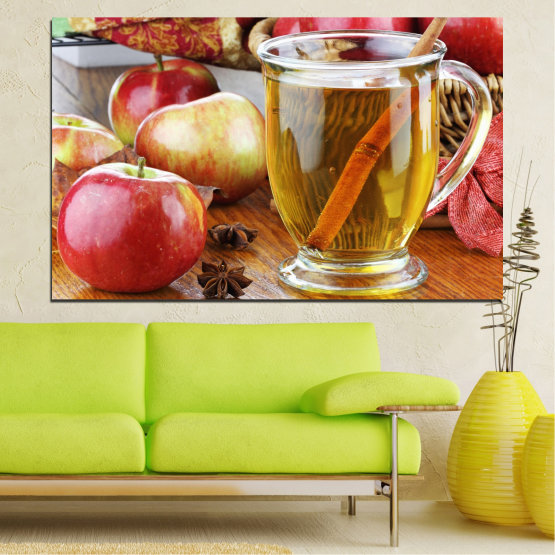 Canvas prints & wall decorative panels - 1 piece №0448 » Red, Orange, Brown, Gray » Culinary, Fruits, Apples Form #1
