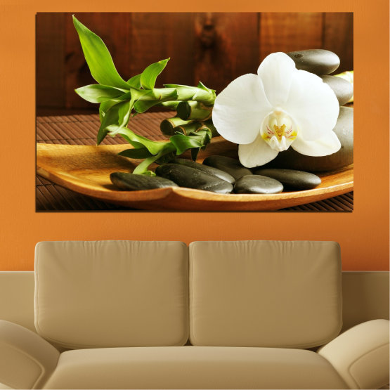 Canvas prints & wall decorative panels - 1 piece №0449 » Brown, Black, Gray, White » Flowers, Orchid, Feng shui, Zen, Stones, Bamboo, Spa Form #1