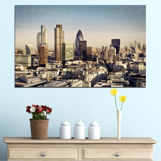 Canvas prints & wall decorative panels - 1 piece №0450 » Black, Gray, Beige, Dark grey » Garden, View, Skyscraper, Capital, Great britain Form #1