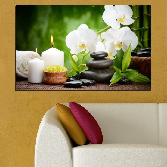 Canvas prints & wall decorative panels - 1 piece №0451 » Green, Black, Gray, White » Flowers, Feng shui, Orchid, Zen, Spa, Stones, Candle Form #1