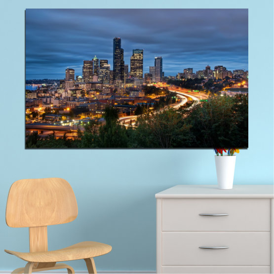 Canvas prints & wall decorative panels - 1 piece №0452 » Purple, Blue, Black, Gray, Dark grey » City, Lights, Night, Skyscraper, Usa, Washington Form #1