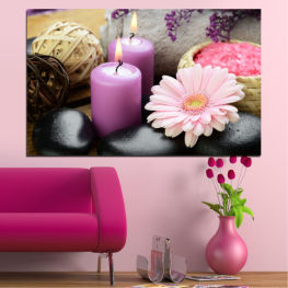 Feng shui, Flowers, Stones, Zen, Spa, Gerbera, Candle » Black, Gray, Milky pink, Dark grey