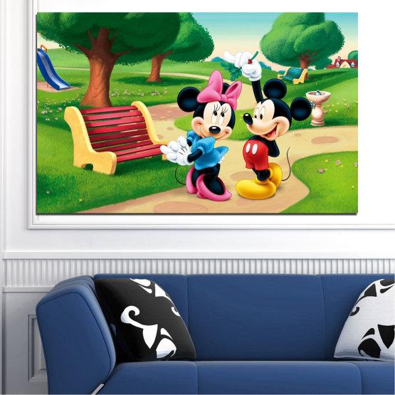 Декоративни панели и картини от канава - от 1 част №0454 » Зелен, Черен, Бежов » Детски, Анимационен, Мики маус Form #1