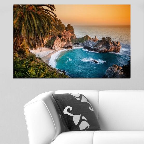 Canvas prints & wall decorative panels - 1 piece №0455 » Brown, Black, Gray, Beige, Dark grey » Nature, Landscape, Sea, Water, Bay, Rocks Form #1