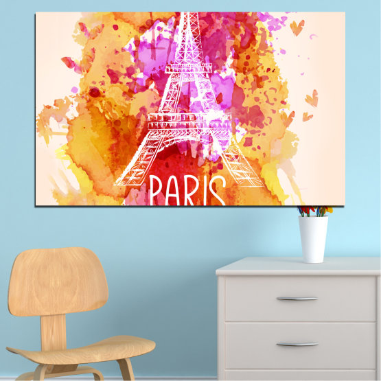 Canvas prints & wall decorative panels - 1 piece №0456 » Red, Pink, Yellow, White, Beige » Collage, Landmark, Eiffel tower, Paris, France Form #1