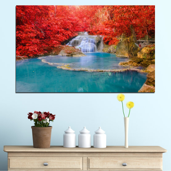 Canvas prints & wall decorative panels - 1 piece №0457 » Red, Blue, Brown, Gray » Nature, Water, Landscape, Waterfall, Autumn Form #1
