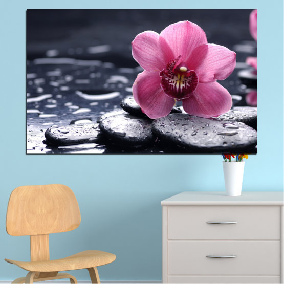 Canvas prints & wall decorative panels - 1 piece №0458 » Black, Gray, White, Milky pink, Dark grey » Flowers, Feng shui, Orchid, Zen, Drops, Stones, Spa Form #1