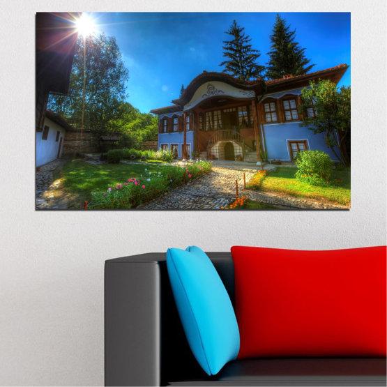 Εκτύπωση σε καμβά και διακοσμητικά πάνελ τοίχου - 1 τεμάχιο №0462 » Μπλε, Πράσινος, Μαύρος, Σκούρο γκρι » Βουλγαρία, Ορόσημο, Σπίτι, Koprivshtitza Form #1
