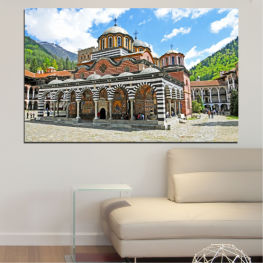 Bulgaria, Landmark, Rila monastery » Turquoise, Gray, White, Dark grey