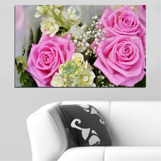 Canvas prints & wall decorative panels - 1 piece №0469 » Pink, Gray, Beige, Milky pink » Flowers, Rose, Bouquet Form #1