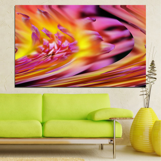 Canvas prints & wall decorative panels - 1 piece №0470 » Red, Pink, Purple, Orange, Gray » Abstraction, Flowers, Leaf Form #1